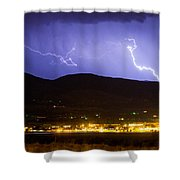 Lightning Striking Over Ibm Boulder Co 2 Shower Curtain