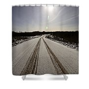 Logging Road In Winter Shower Curtain