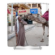 Man With His Camel Shower Curtain