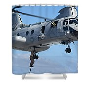 Marines Fast Rope From A Ch-46 Sea Shower Curtain