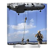 Marines Fast Rope From A Ch-46e Sea Shower Curtain