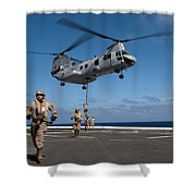 Marines Fast Rope On To The Flight Deck Shower Curtain