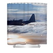 Mc-130p Combat Shadow Dropping Flares Shower Curtain