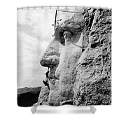 Men Working On Mt. Rushmore Shower Curtain