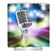 Microphone On Stage Shower Curtain
