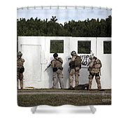 Military Reserve Members Prepare Shower Curtain by Michael Wood