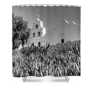 Mission San Diego De Alcala Monochrome Shower Curtain