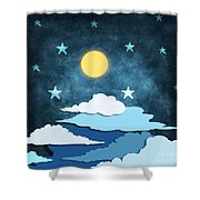 Moon And Stars Shower Curtain