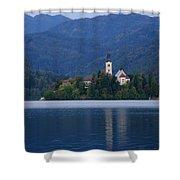 Moon Setting At Sunrise Over Island Church At Lake Bled Shower Curtain