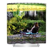 Morning By The Pond Shower Curtain