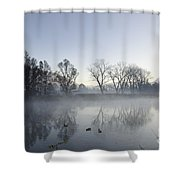 Mountain And Trees Reflected In A Foggy Lake Shower Curtain