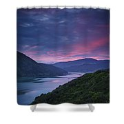 Mountains Along The Coastline Under A Shower Curtain