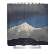 Mt Humphreys Covered In Snow Shower Curtain