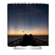 Naples Pier Sunset Shower Curtain