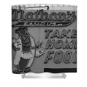 Nathan's Famous In Black And White Shower Curtain