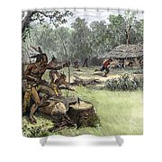 Native American Attack, C1640 Shower Curtain