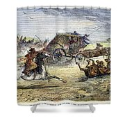 Native American Attack On Coach Shower Curtain