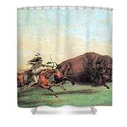 Native American Indian Buffalo Hunting Shower Curtain