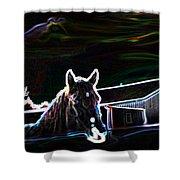 Neon Horse Shower Curtain