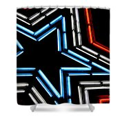 Neon Star Shower Curtain by Darren Fisher