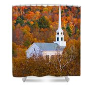 New England Church In Autumn Shower Curtain