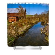 New England Farm In Autumn Scenery Shower Curtain