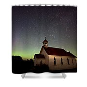 Night Church Northern Lights Shower Curtain