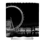 Night Image Of The London Eye And River Thames  Shower Curtain
