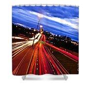 Night Traffic Shower Curtain by Elena Elisseeva