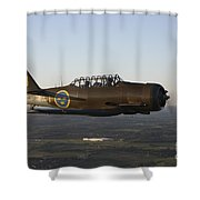 North American T-6 Texan Trainer Shower Curtain