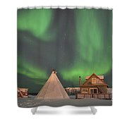 Northern Lights Above Village Shower Curtain