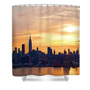 Ny Skyline Sunrise Gold Shower Curtain