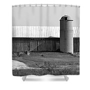 Old Barn And Silo Shower Curtain