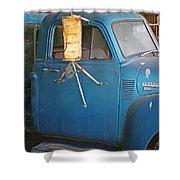 Old Blue Farm Truck Shower Curtain