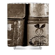 Old Fashioned Iron Boxes. Shower Curtain