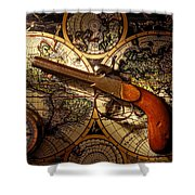 Old Gun On Old Map Shower Curtain