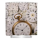 Old Pocket Watch On Dail Faces Shower Curtain