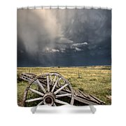Old Prairie Wheel Cart Saskatchewan Shower Curtain