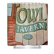 Owl Tavern Shower Curtain