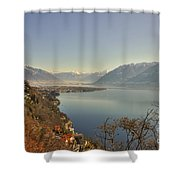 Panoramic View Over A Lake Shower Curtain