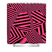 Pink And Black Abstract Shower Curtain