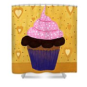 Pink Frosted Cupcake Shower Curtain