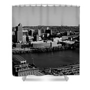 Pittsburgh In Black And White Shower Curtain