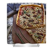 Pizza With Herbs Shower Curtain