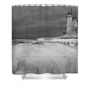 Point Betsie Lighthouse In Winter Shower Curtain