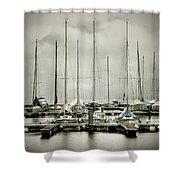 Port On A Rainy Day Shower Curtain