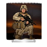 Portrait Of A U.s. Marine In Uniform Shower Curtain