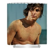 Portrait Of A Young Man On A Sea Shore Shower Curtain