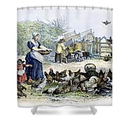 Poultry Yard, 1847 Shower Curtain
