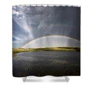 Prairie Hail Storm And Rainbow Shower Curtain